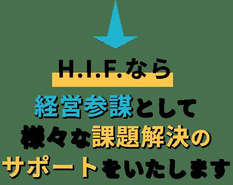 H.I.Fなら経営参謀として様々な課題解決のサポートをいたします
